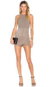 NBD Evelyn Dress Champagne Open T Back Textured Flute Pleat Trim Skirt Mini Beige