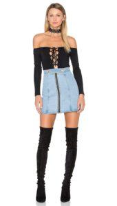NBD Kendall Bodysuit in Black Plunge Lace Up Neckline