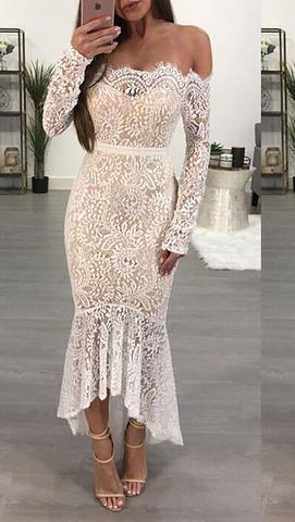 Antoinette Lace Off Shoulder Mermaid Dress White
